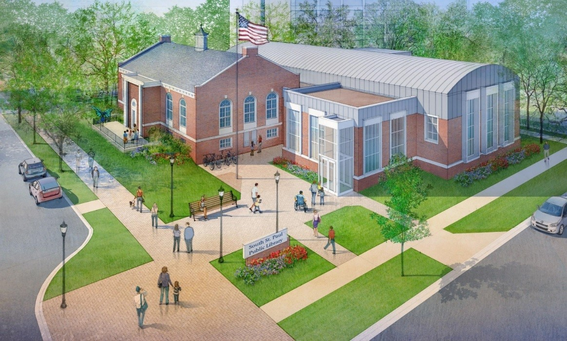 Rendering of a possible renovated exterior of the library site