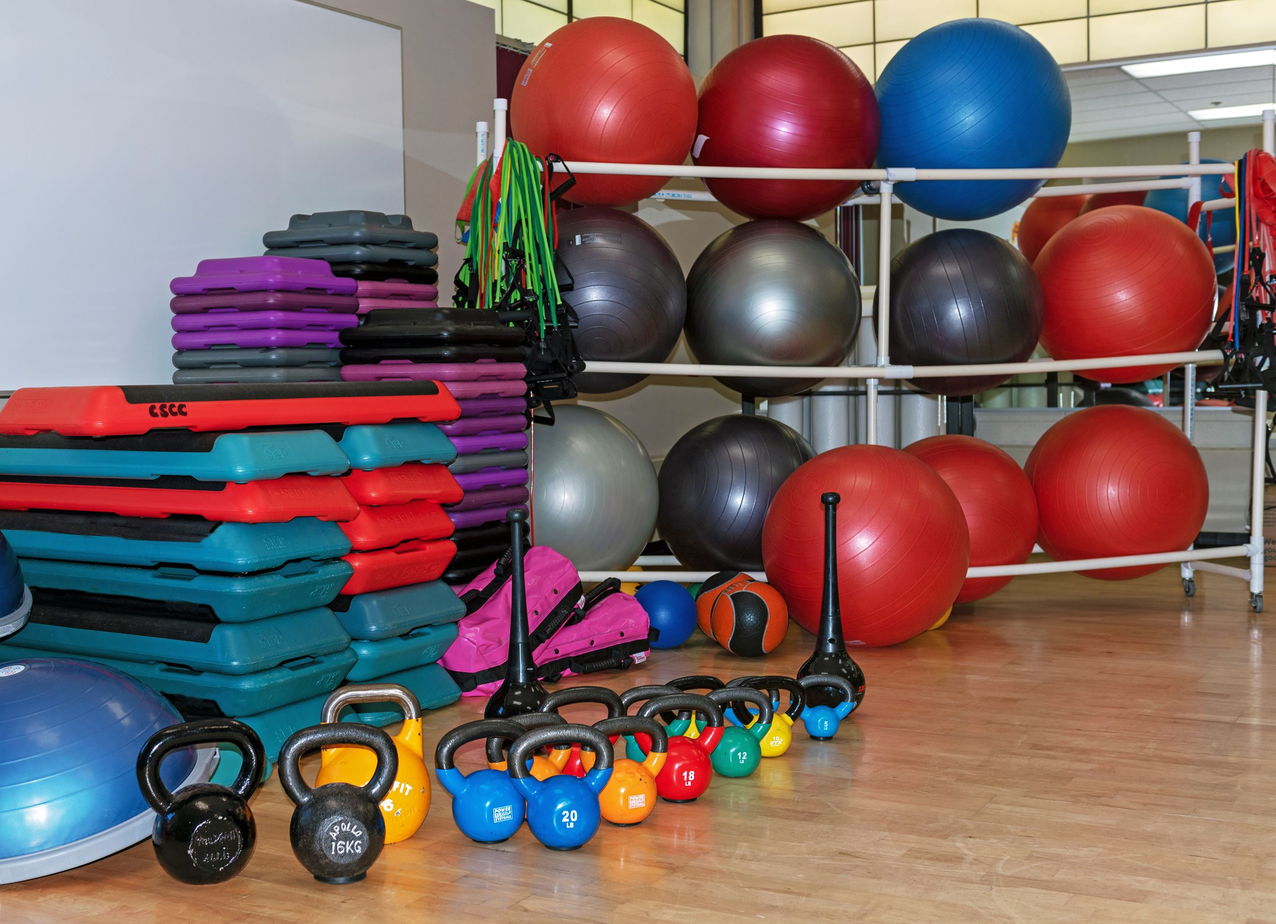 Fitness Class Equipment, kettlebells, steps, balls and more.