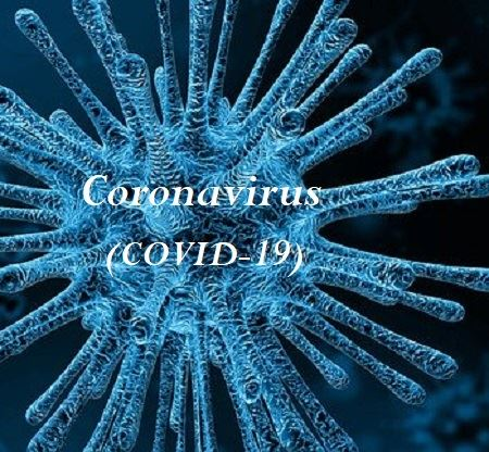 "Image of virus with wording ""Coronavirus (COVID-19)"