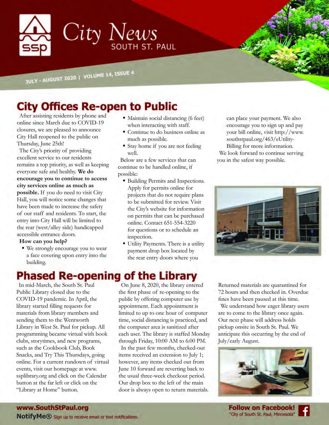 Image of the front cover of the City Newsletter (July-August 2020)