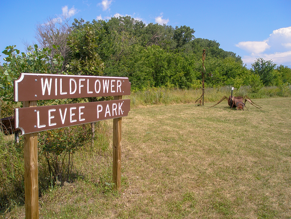 Wildflower Leeve Park Sign in South St. Paul on the Mississippi River Trail