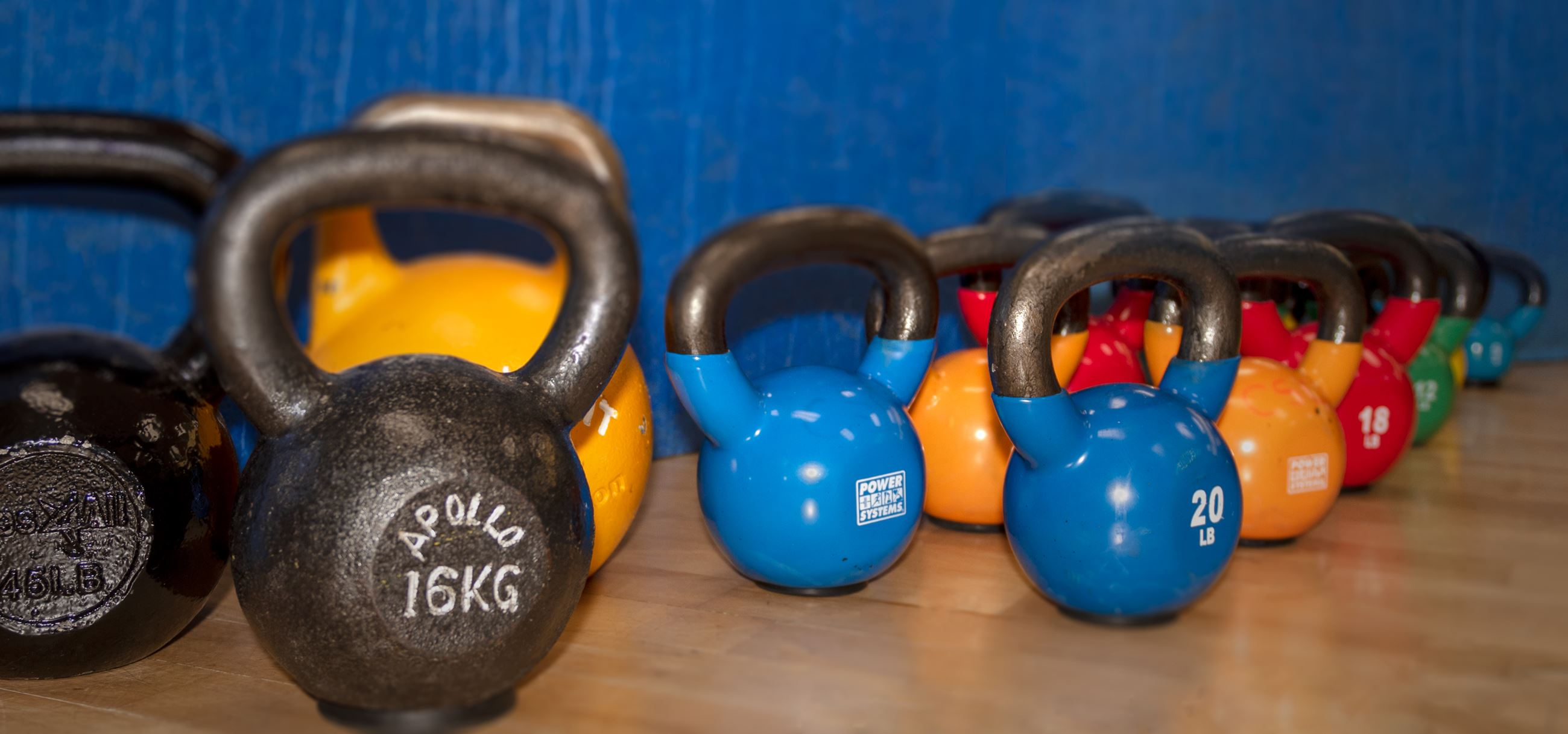 Fitness Room Kettlebells arranged by weight